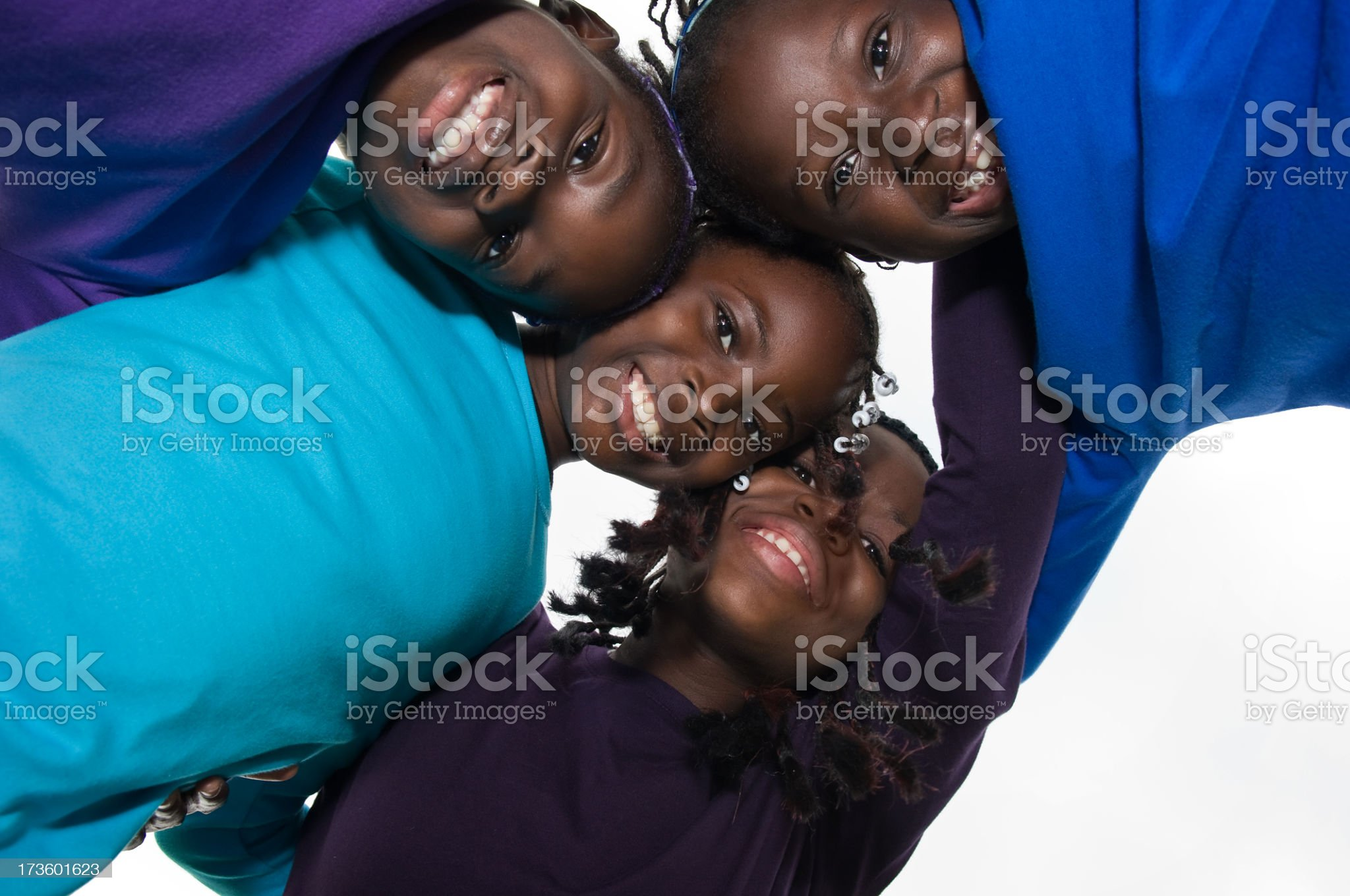 Four Happy Girls in a Circle royalty-free stock photo
