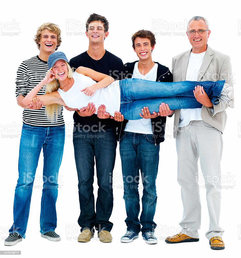 Four happy men carrying a young woman royalty-free stock photo