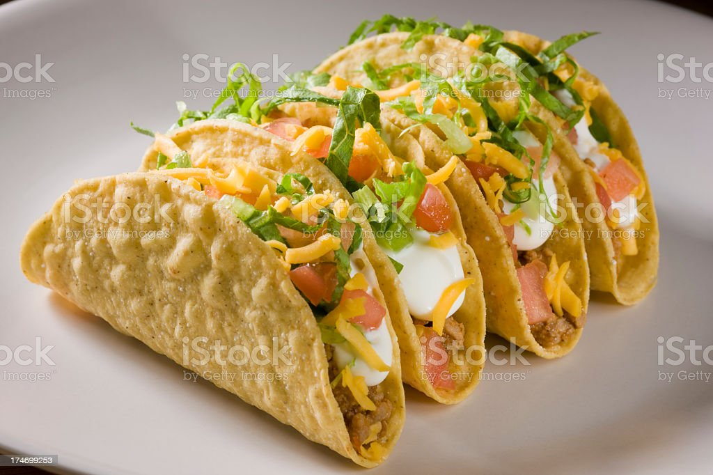 Four hard shell tacos sitting on a plate stock photo