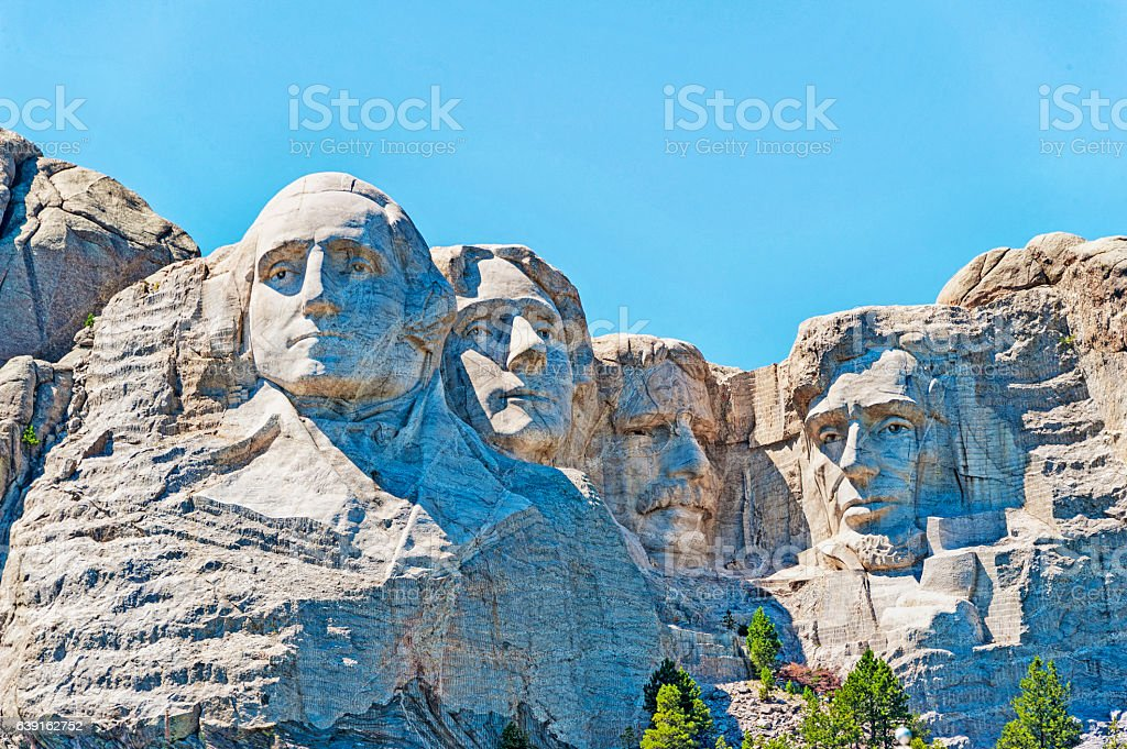 Four Heads carved on Mt Rushmore National Memorial stock photo