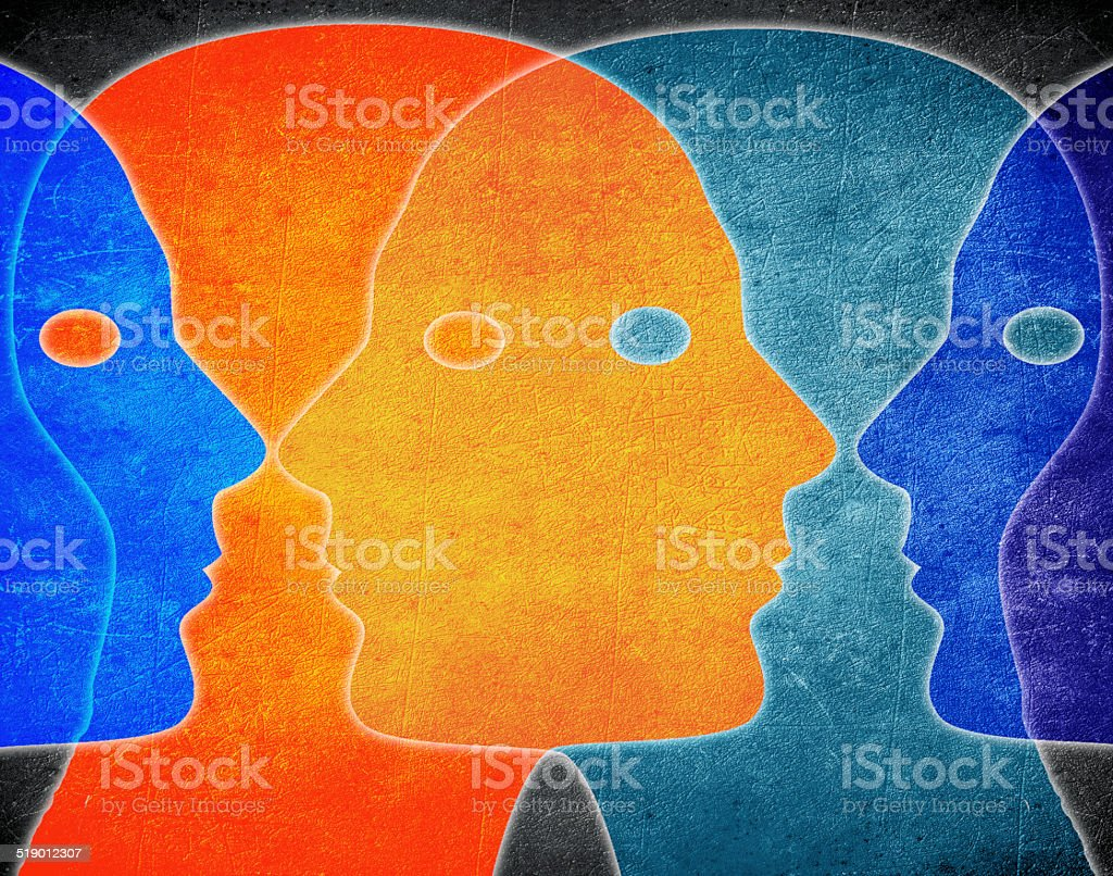 four heads colors digital illustration stock photo