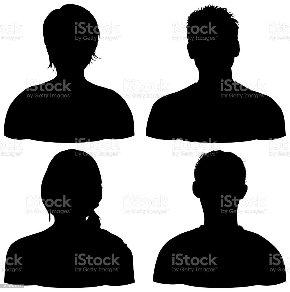 Four Heads, Isolated on White vector art illustration