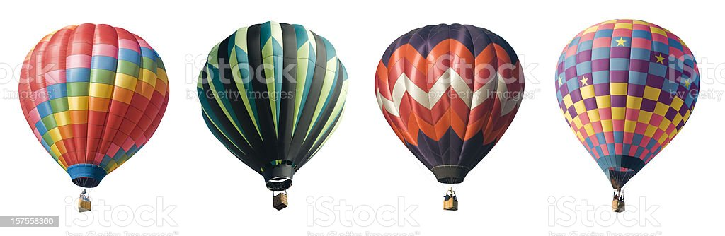 Four Hot Air Balloons Isolated on White stock photo