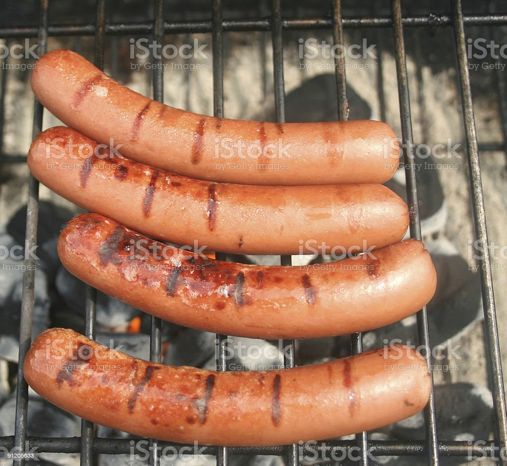 Four Hot Dogs stock photo
