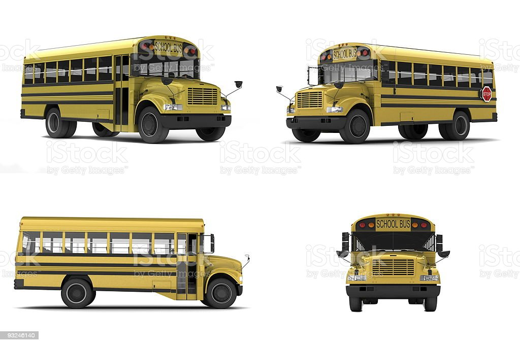 Four images of yellow school buses royalty-free stock photo