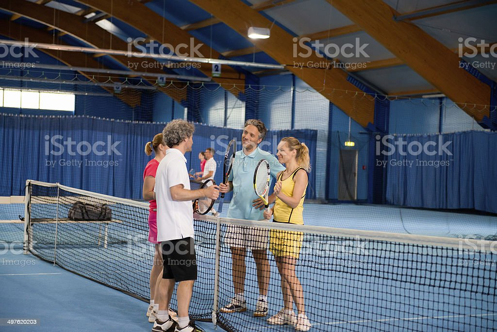 Four Indoor Tennis Players royalty-free stock photo