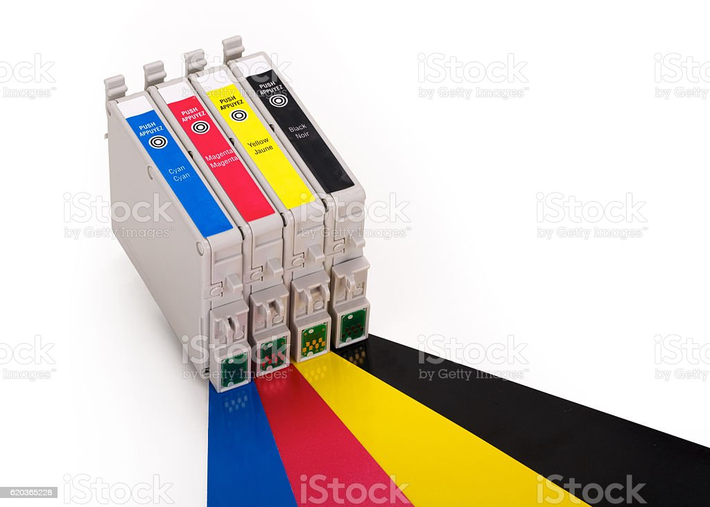 Four ink cartridges in CMYK, contains clipping path. stock photo