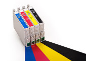Four ink cartridges in CMYK, contains clipping path.