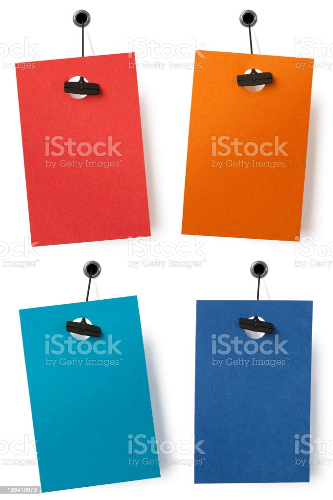 Four isolated blank price labels royalty-free stock photo