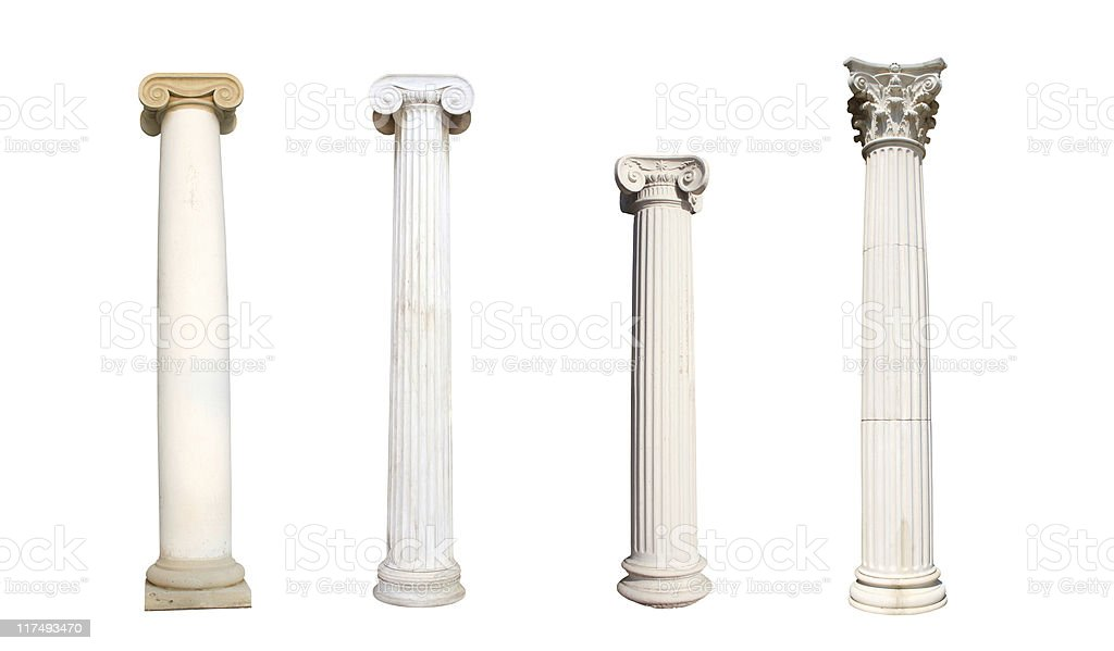 Four isolated columns stock photo