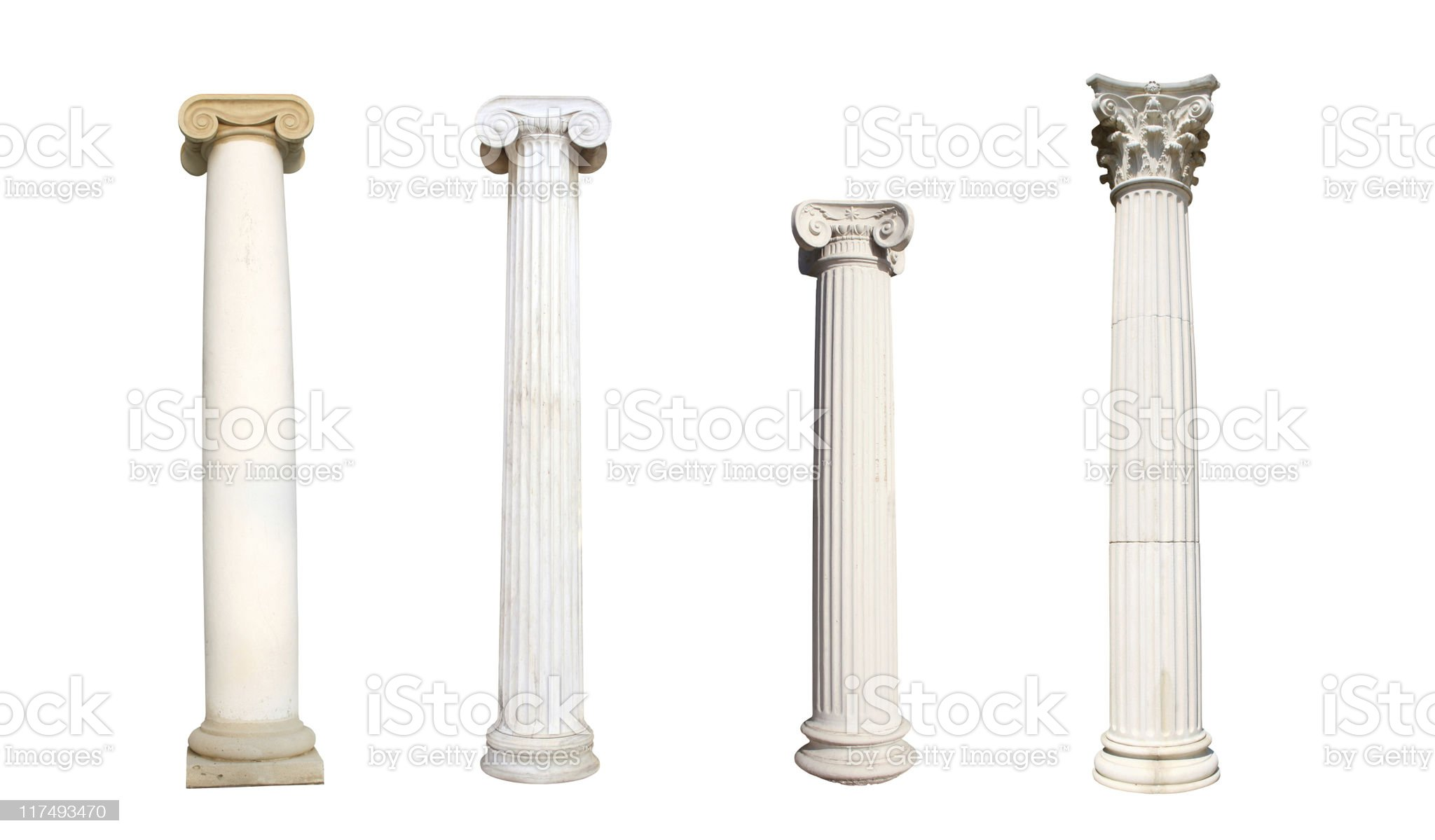Four isolated columns royalty-free stock photo