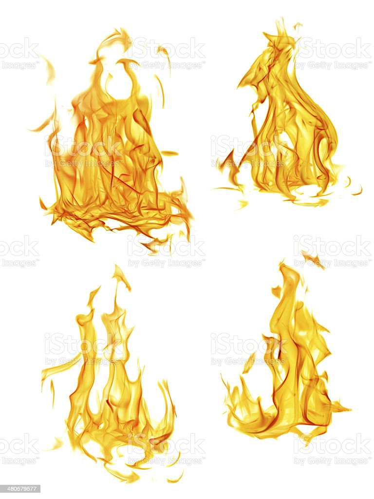 four isolated yellow and orange flames set stock photo