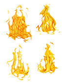 four isolated yellow and orange flames set