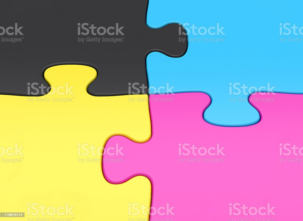CMYK four jigsaw puzzle piece close-up royalty-free stock photo