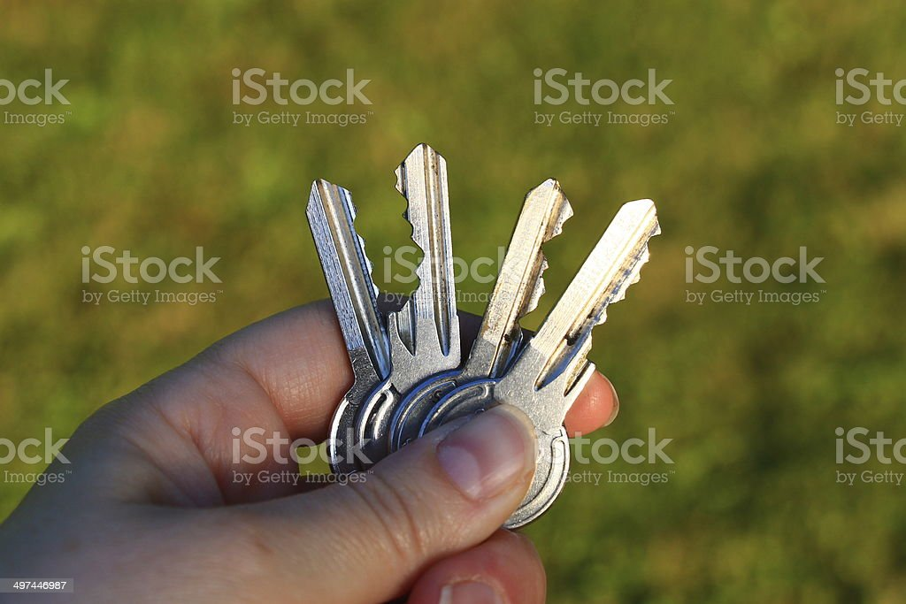 Four keys in the women's hand stock photo