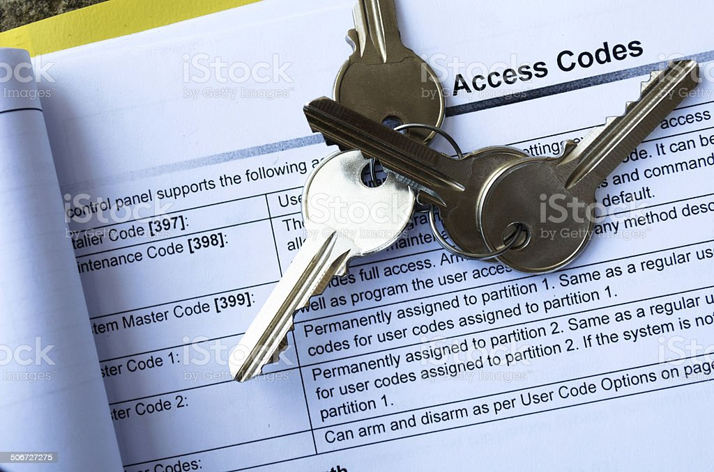 Four Keys On Access Code List stock photo