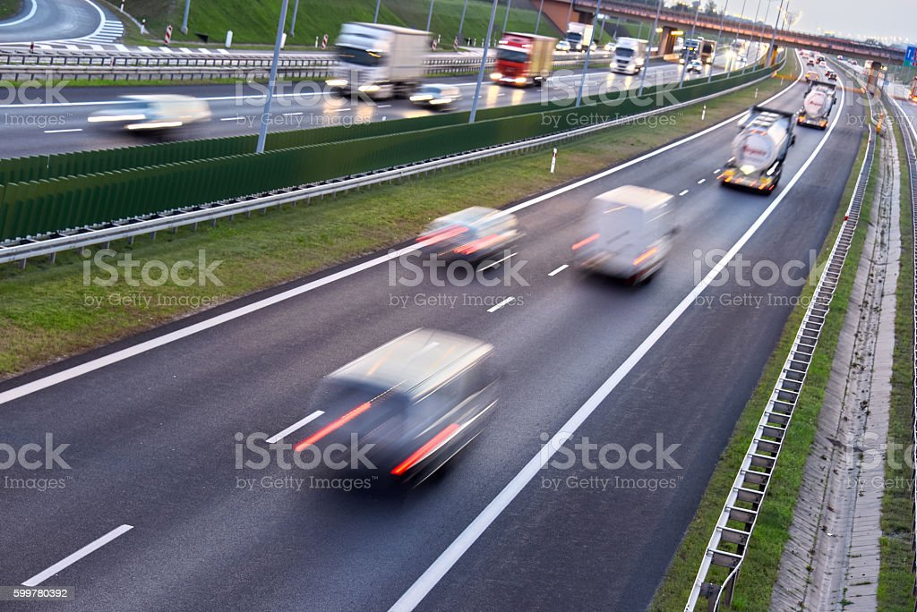 Four lane controlled-access highway in Poland stock photo