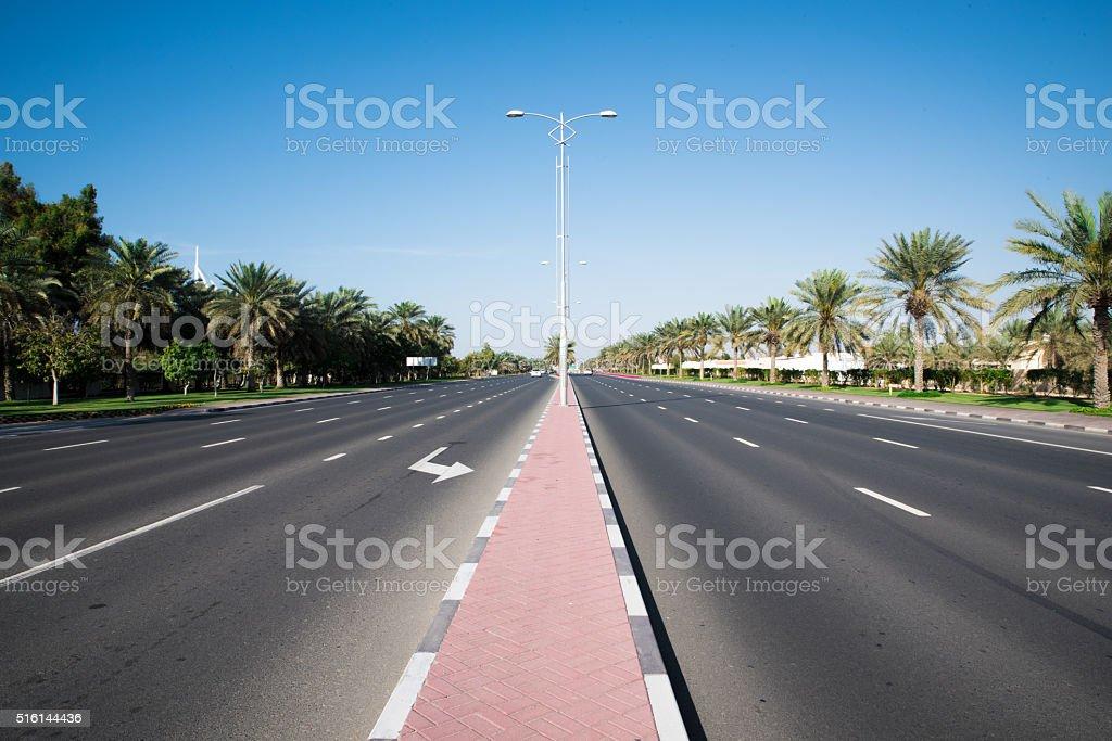 Four Lane Dubai Highway stock photo