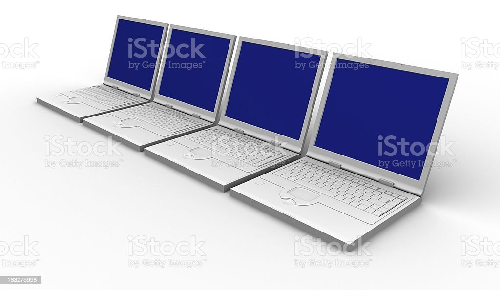 Four laptops with blue screens - network royalty-free stock photo