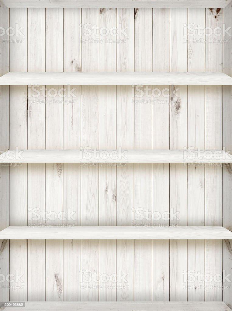 four layer blank white wooden bookshelf stock photo