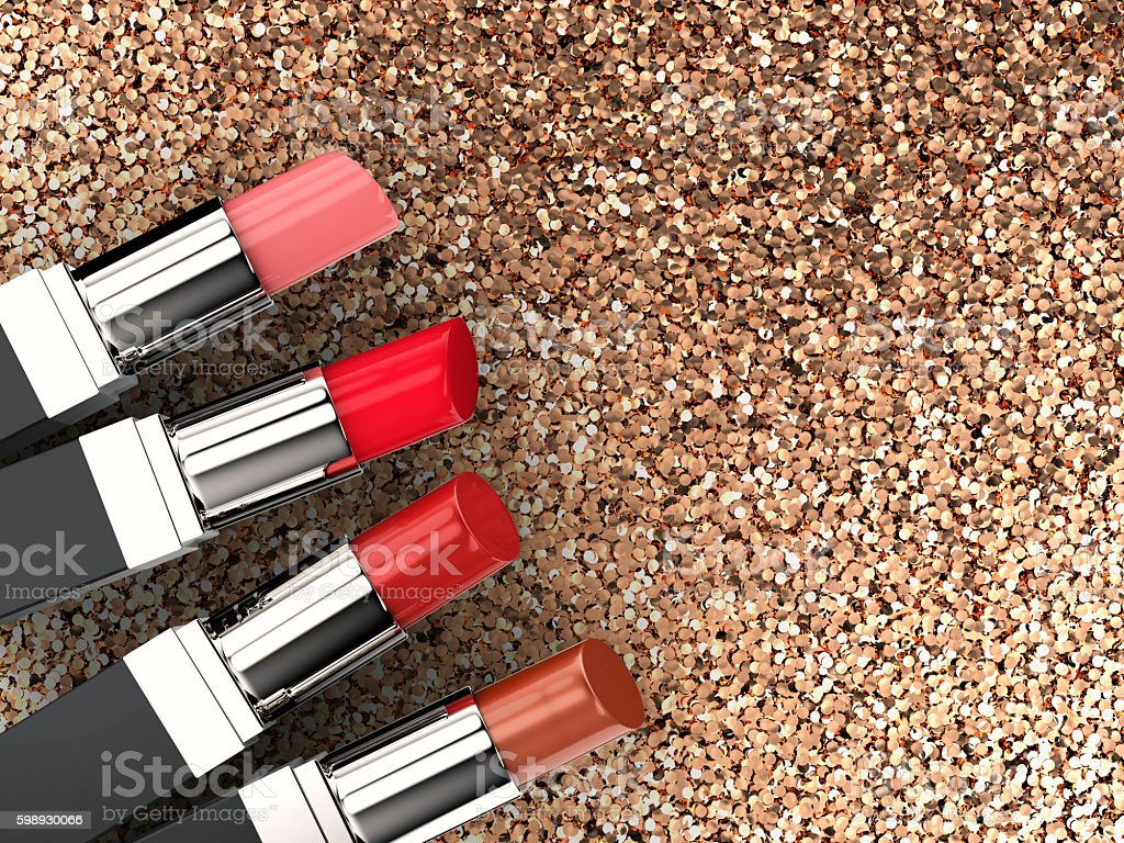 four lipsticks stock photo