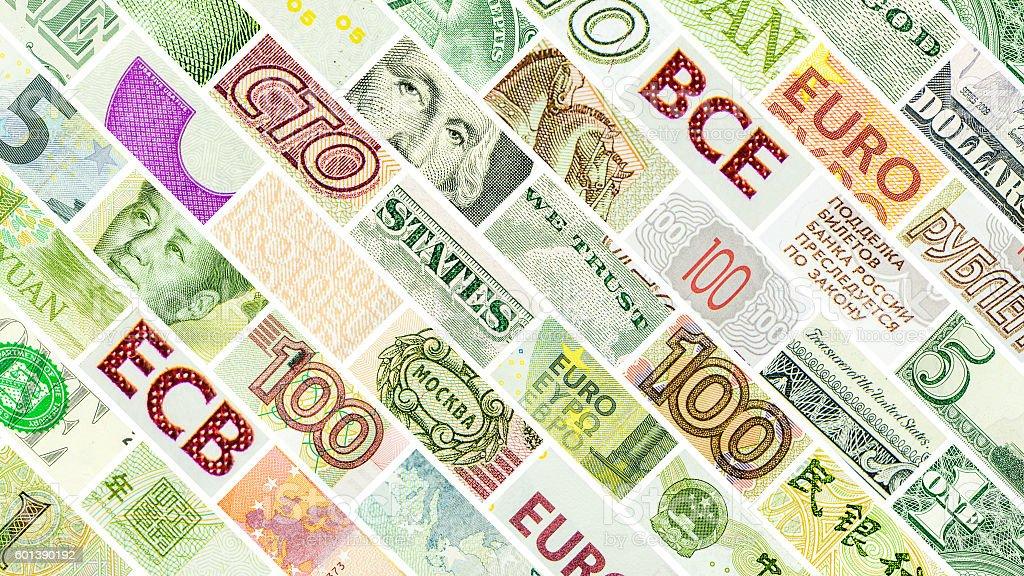 four main world currencies diagonal wall stock photo