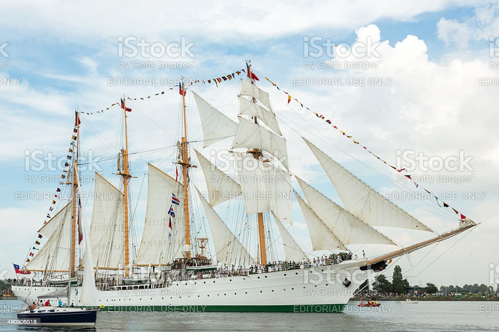 Four masted tall ship Esmeralda stock photo