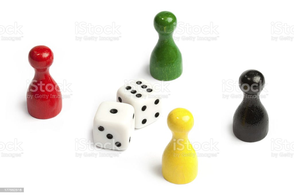 Four meeples royalty-free stock photo