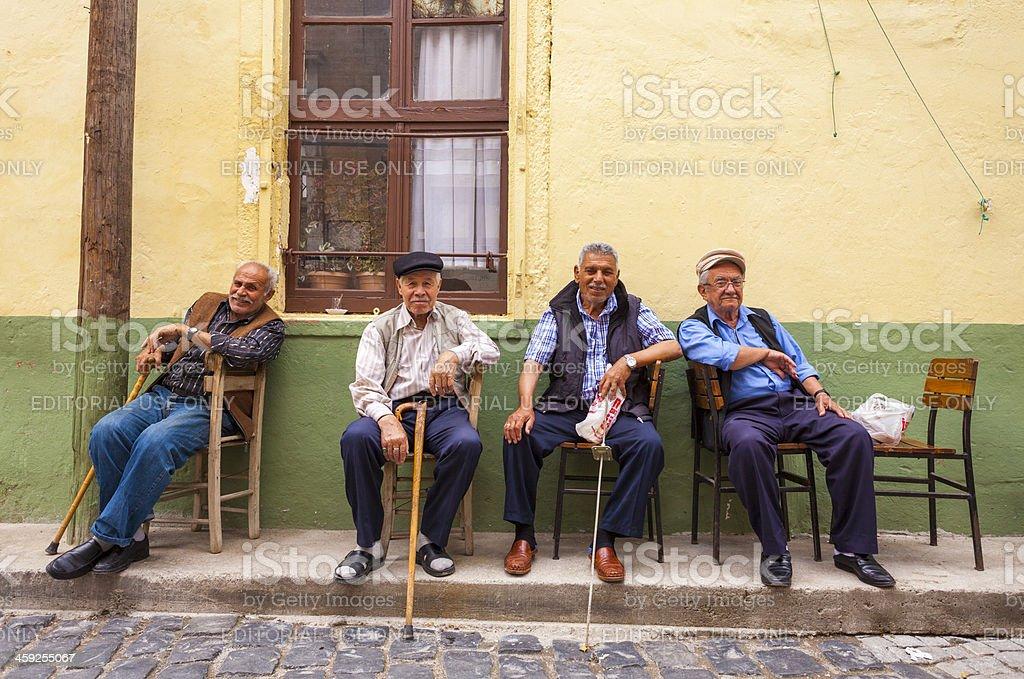 Four Men, Ayvalik, Turkey royalty-free stock photo