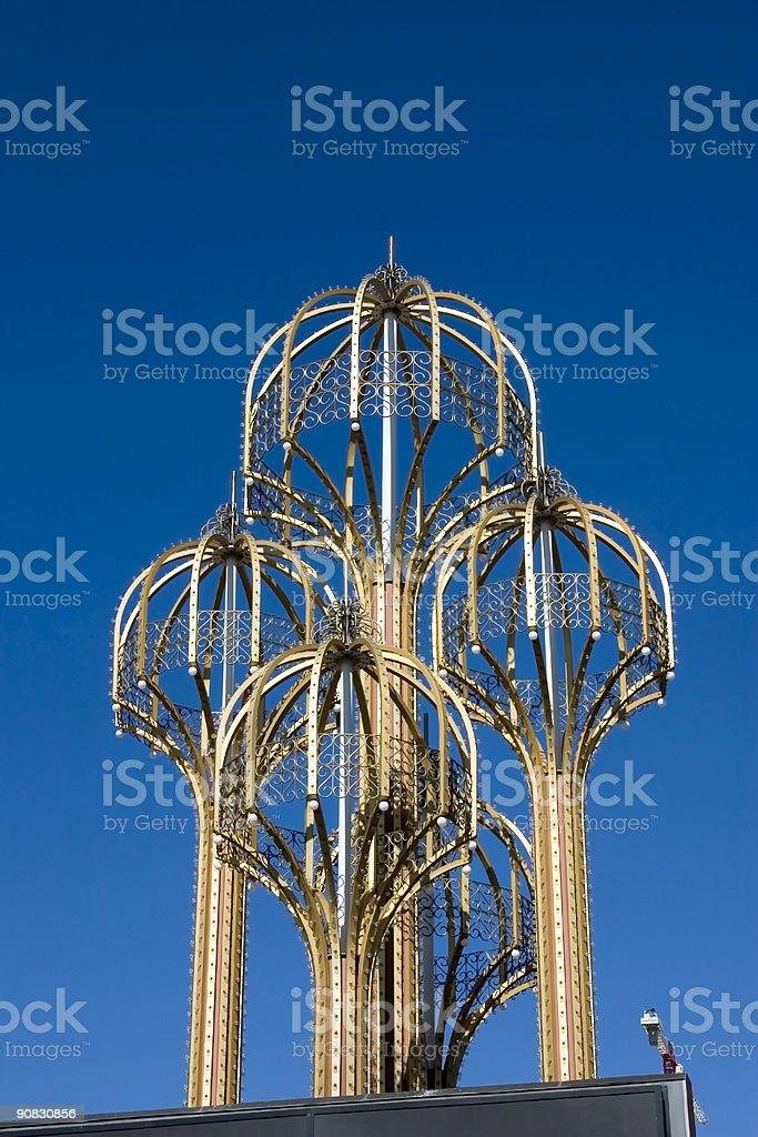 Four Metal Umbrellas with Bulbs Las Vegas royalty-free stock photo
