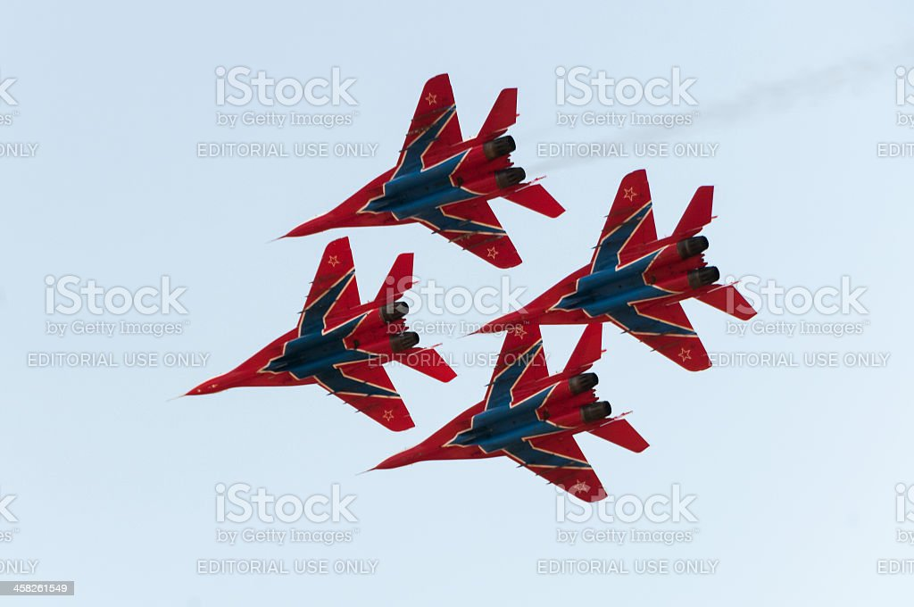 Four MiG-29 Fulcrum jet fighters of Swifts aerobatic demonstration team royalty-free stock photo