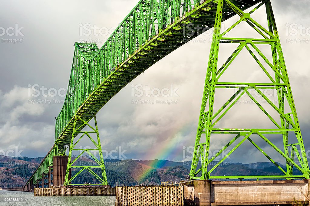Four mile long Megler Bridge in Astoria Oregon stock photo