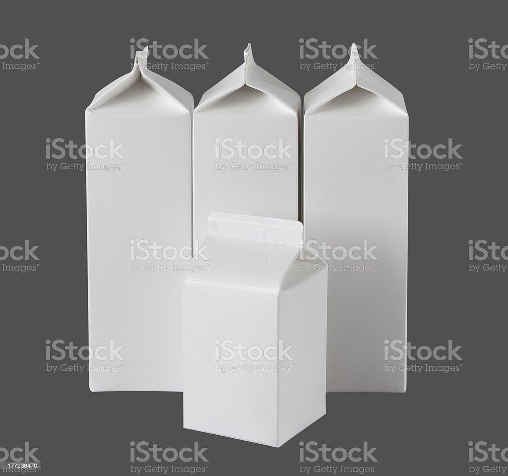 Four Milk Boxes per liter on White royalty-free stock photo