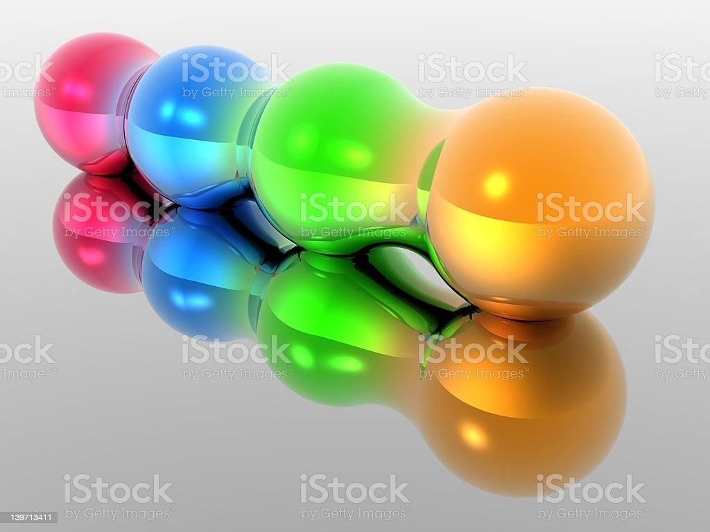 Four Morphing Spheres 2 royalty-free stock photo