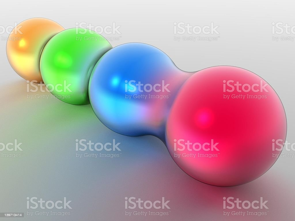Four Morphing Spheres stock photo