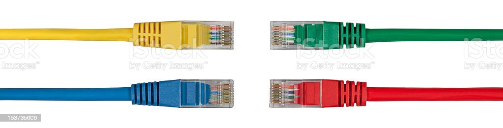 Four Multi Colored Network Cables royalty-free stock photo