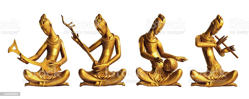 Four Musicians Wood Carved with Thai Style royalty-free stock photo