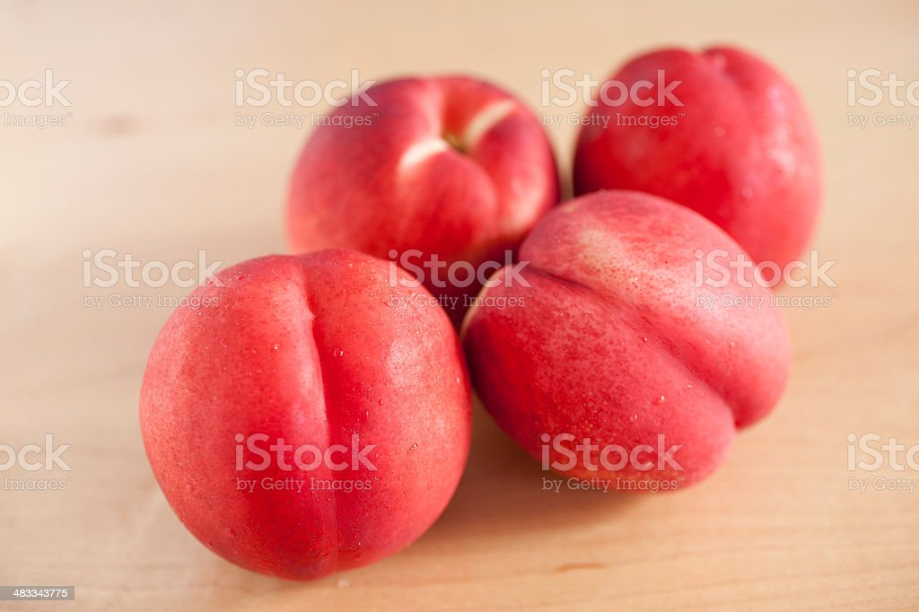 Four Nectarines from Above stock photo