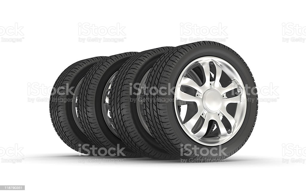 Four new black tires for a car stock photo