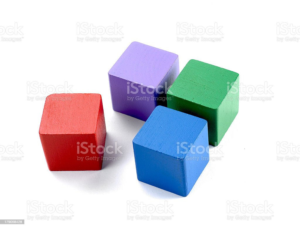 Four old wooden blocks royalty-free stock photo