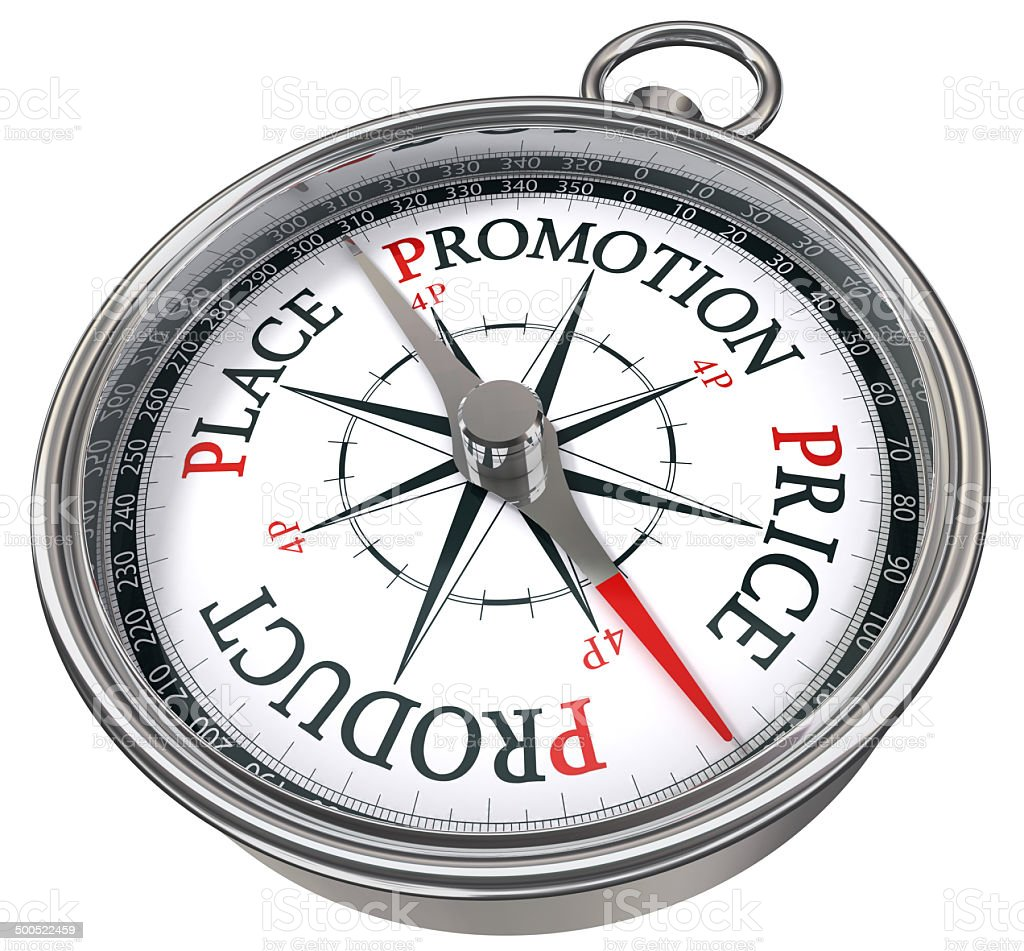 four p management concept compass stock photo