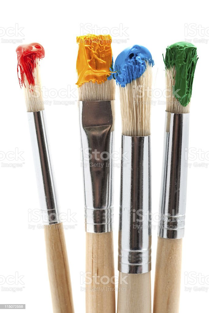 four paintbrush with color stock photo