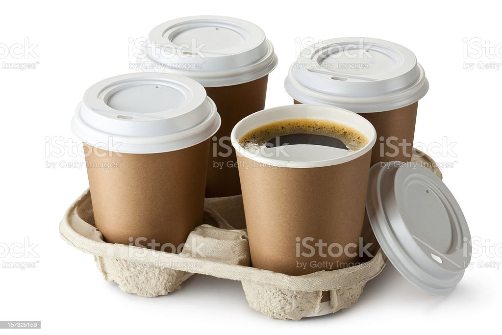 Four paper cups of coffee in cardboard holder royalty-free stock photo