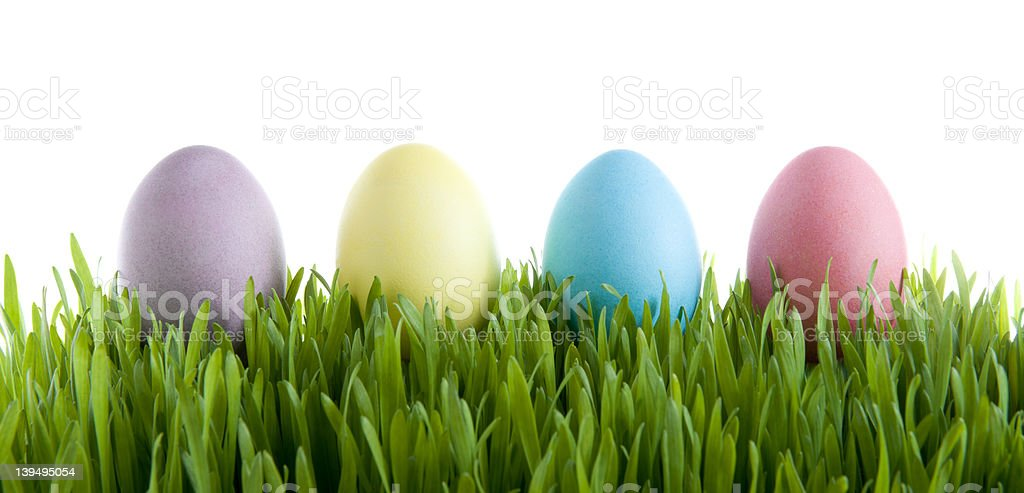 Four (4) Pastel Easter Eggs in Grass royalty-free stock photo