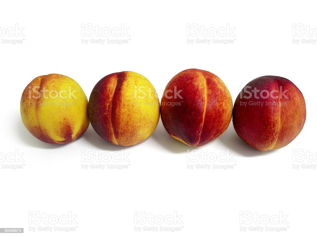 Four Peaches in a Row royalty-free stock photo
