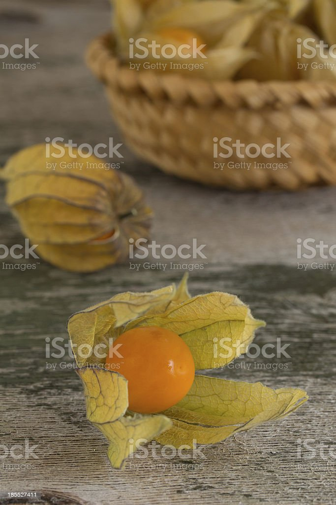 Four physalis on old wooden background royalty-free stock photo