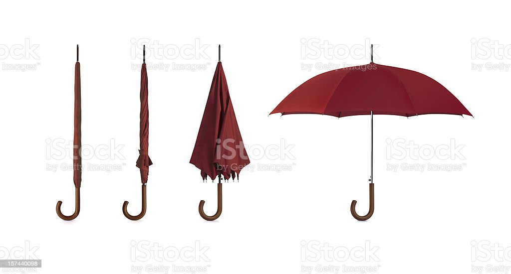 Four pictures of umbrellas in different positions stock photo