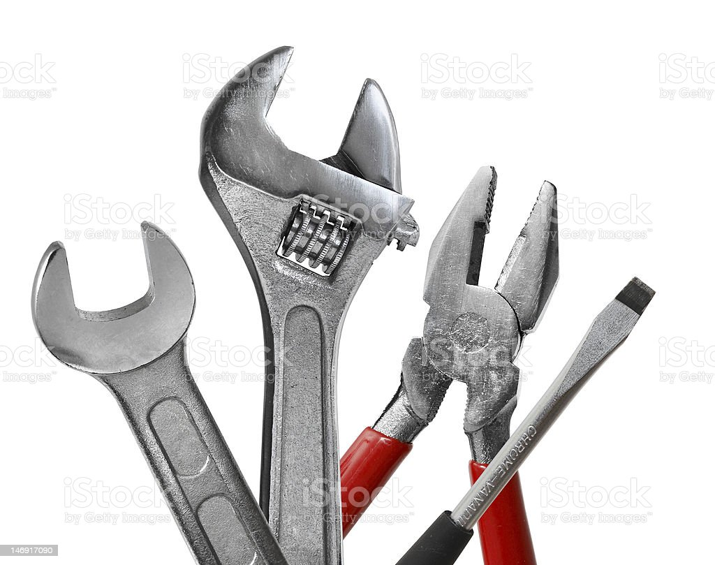 Four pieces of a stainless steel tool set stock photo