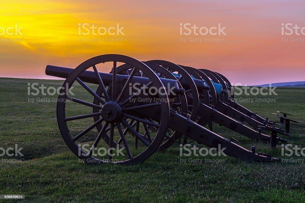 Four pieces of artillery  at Antietam National Battlefield stock photo