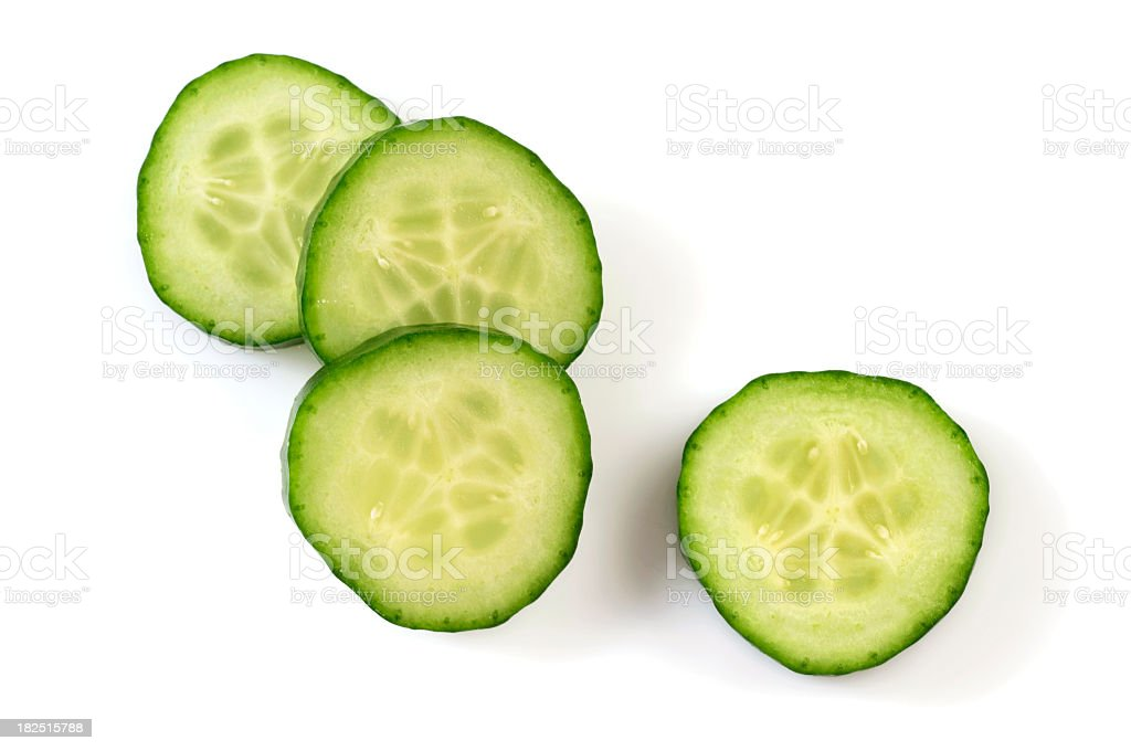 Four pieces of Cucumber slices royalty-free stock photo